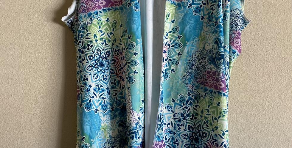 Teal Mandala Knee Thigh Length Kimono