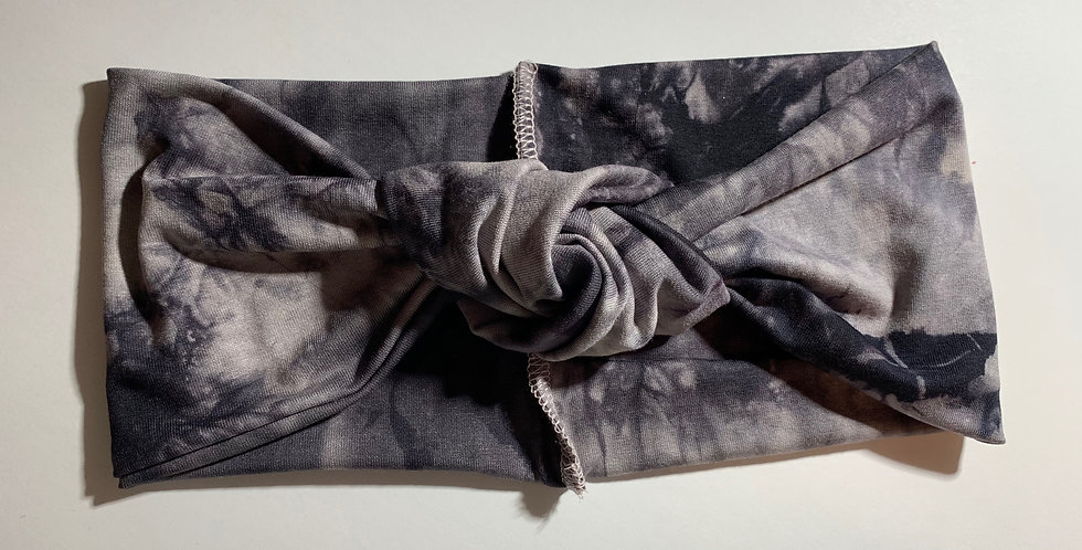 Grey and Black Tie Dye Knotted Headband