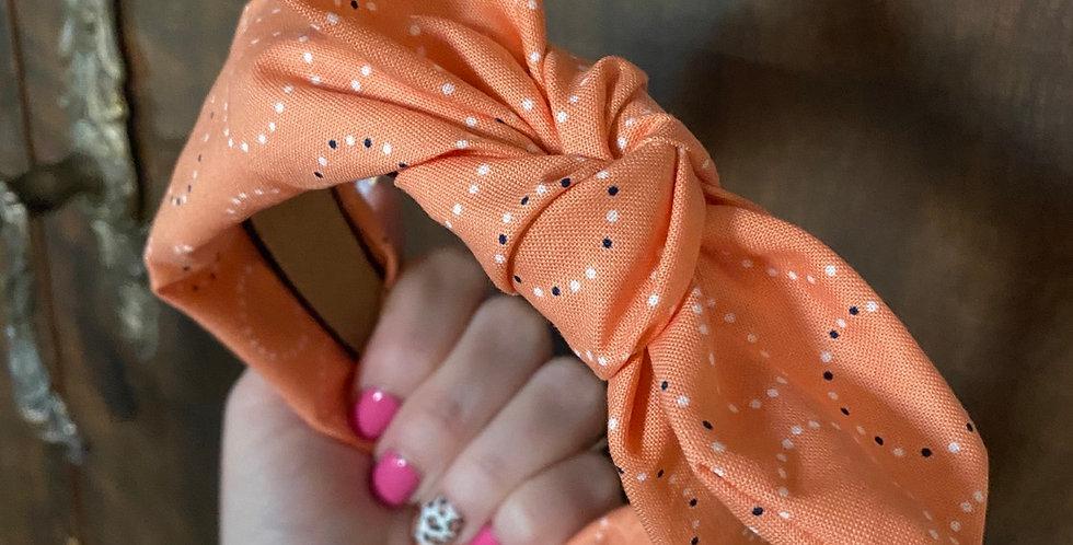 Tangerine Circles Bow Headband