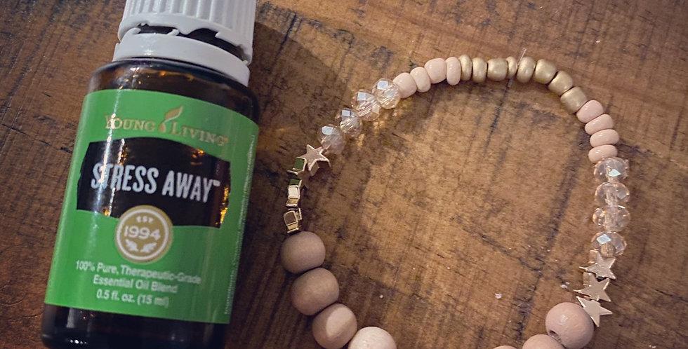 Sunstone and Wood Sparkle Diffuser Bracelet