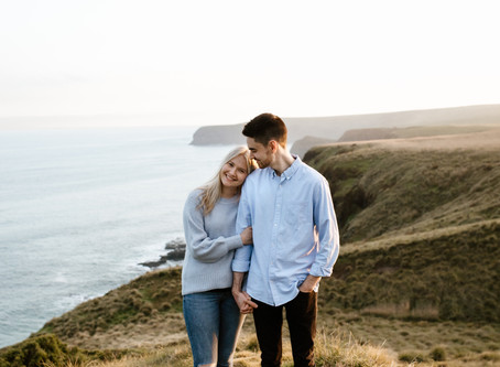 Jess and Tom's Sunset Engagement Session at Flinders Cliffs, Mornington Peninsula, Victoria