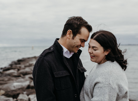 Bianca and Richard's Seaside Engagement Session in Williamstown, Vic