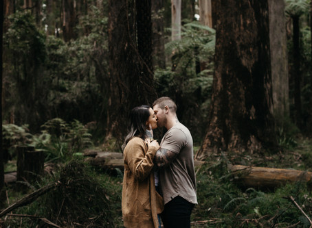 Sam and Jay's Sunrise Engagement Session in Sherbrooke Forest, Vic