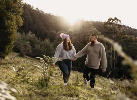 Katy and Alex Sunset Engagement at R J Hamer Arboretum in The Dandenongs, VIC