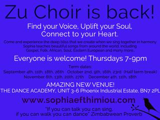 Zu Choir now at the Dance Academy, 3 mins from ZU -THURS 4th Sept 7pm