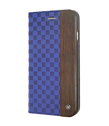 Uunique Wooden Checker Embossed Folio Hard Shell