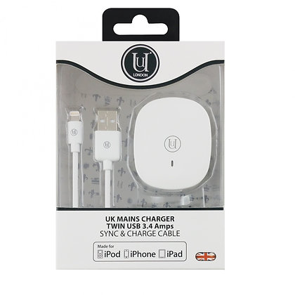 Uunique UK Mains Charger Twin USB 3.4 Amps, Sync and Charge Cable for iPod/iPhon