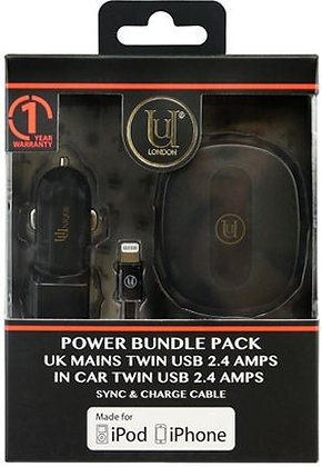 Uunique In Car Charger Twin USB 2.4 Amps, UK Mains Charger Twin USB 2.4 Amps