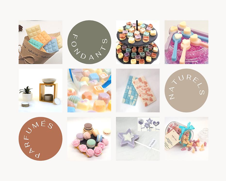différents fondants parfumés au parfums de grasse macarons, roses, sucettes, oursons de cire parfumée