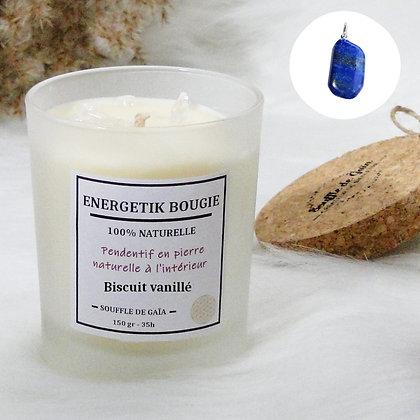 Bougie naturelle parfumée - 𝐁𝐢𝐬𝐜𝐮𝐢𝐭 𝐯𝐚𝐧𝐢𝐥𝐥𝐞́ - Pendentif