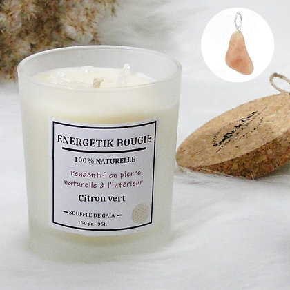 Bougie naturelle parfumée - 𝐂𝐢𝐭𝐫𝐨𝐧 𝐯𝐞𝐫𝐭 - Pendentif