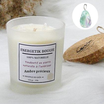 Bougie naturelle parfumée - 𝐀𝐦𝐛𝐫𝐞 𝐩𝐫𝐞́𝐜𝐢𝐞𝐮𝐱 - Pendentif