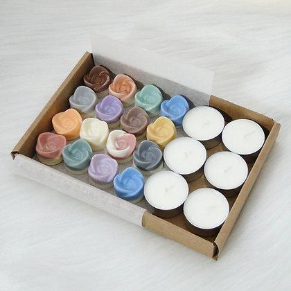 Coffret 15 fondants parfumés et 6 chauffe-plats naturels - Parfums au choix