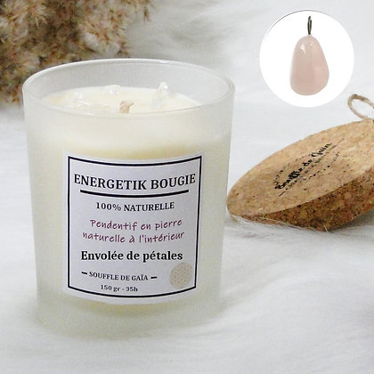 Bougie naturelle parfumée - 𝐄𝐧𝐯𝐨𝐥𝐞́𝐞 𝐝𝐞 𝐩𝐞́𝐭𝐚𝐥𝐞𝐬 - Pendentif