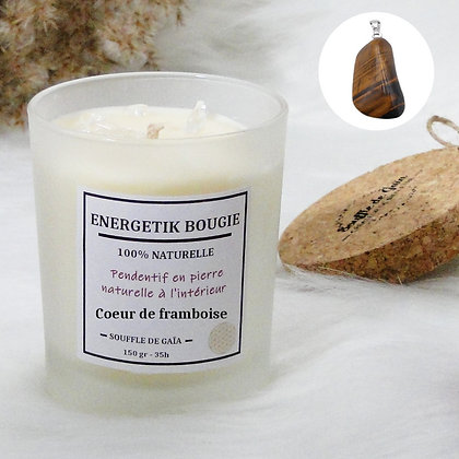 Bougie naturelle parfumée - 𝐂𝐨𝐞𝐮𝐫 𝐝𝐞 𝐟𝐫𝐚𝐦𝐛𝐨𝐢𝐬𝐞 - Pendentif