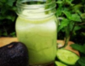 green smoothie, cucumber, avocado, mint, lemon