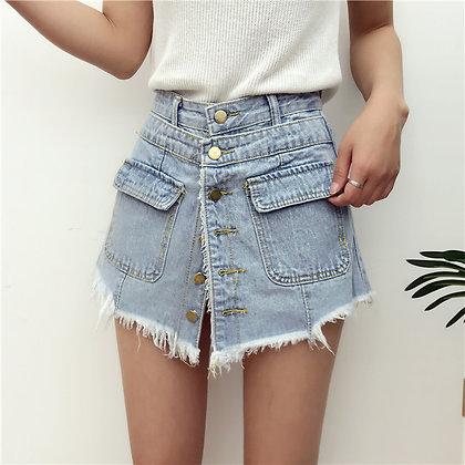 Short en Jeans Fausse Jupe en Denim Boutons