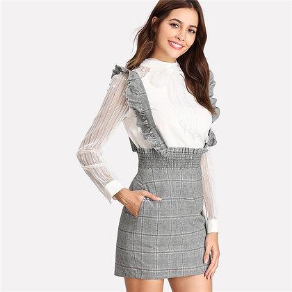 Jupe Taille Haute à Carreaux Prince de Galles Plaid Grey Skirt