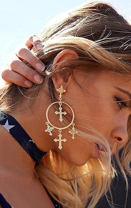 Boucles d'oreilles Dorées Multiples Croix Gold Earrings Cross Multi
