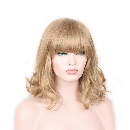 Perruque naturelle blonde frange droite ondulée