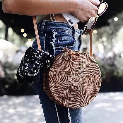 Sac Rond en Rotin Typique de Bali / Bali beach handbag circle round rotin
