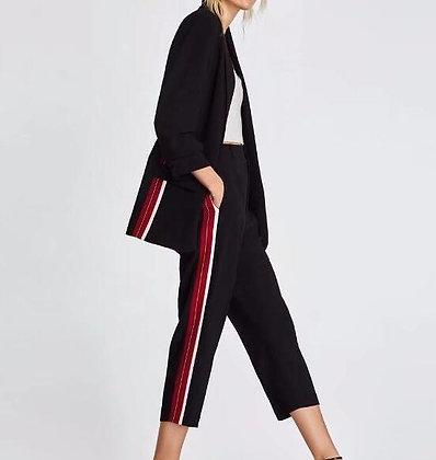 Pantalon Noir à Bandes Rouge/Blanc