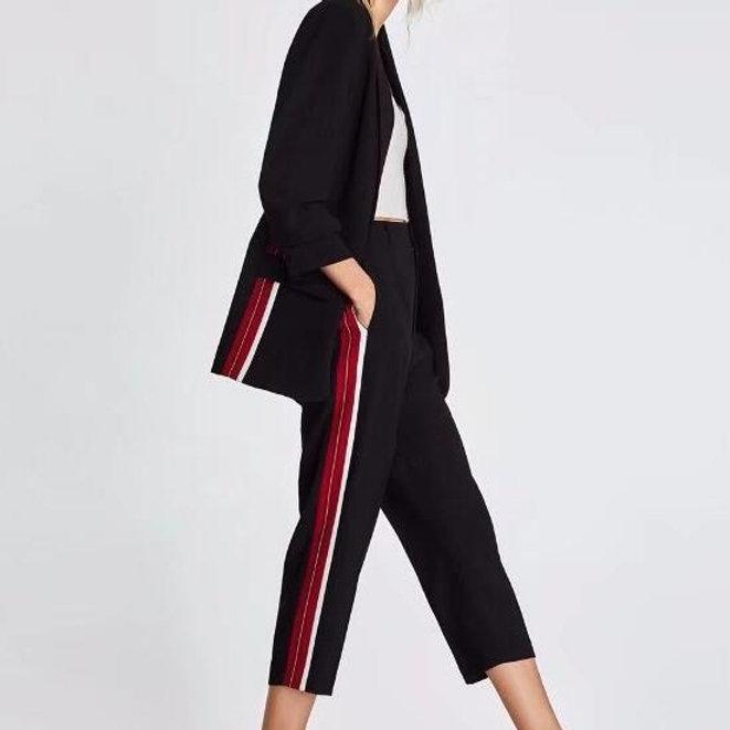 New York 3305b 248e7 Pantalon Noir à Bandes Rouge/Blanc