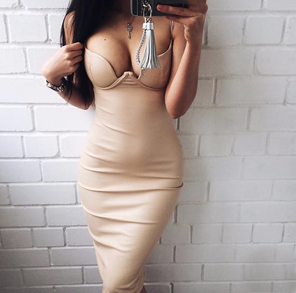 PREMIUM Robe Cuir Décolletée Bodycon Leather Dress Jessica