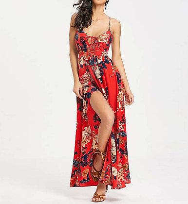 Robe Longue Fendue Imprimé Fleurie Dos Nu Caraïban
