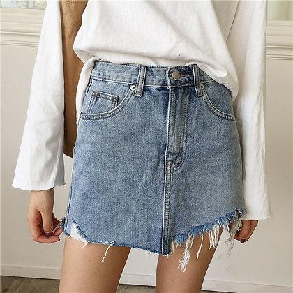 Jupe en Jeans Denim Asymétrique Vintage
