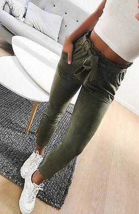 Pantalon Taille haute Carotte en Daim