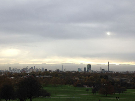8am, sitting on top of Primrose Hill.