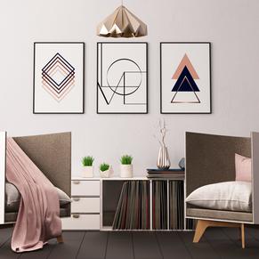 rombi,love,triangles - pink living room.