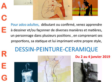 """Stage dessin - peinture -céramique, """"Le corps épuré"""""""