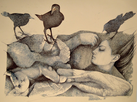 Vanessa Sleeping with Birds and Cat