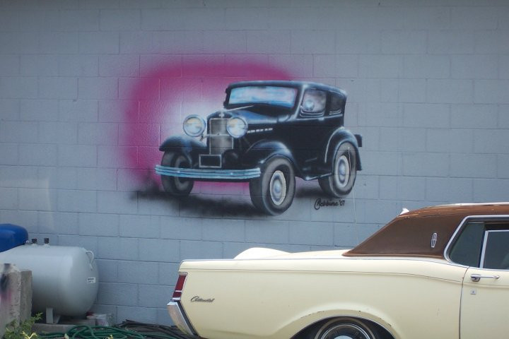 old car on building