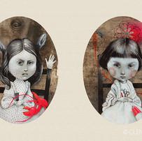Lorina e Alice Liddell - dalla fotografia di Lewis Carroll (Lorina and Alice Liddell - from the photograph by Lewis Carroll)