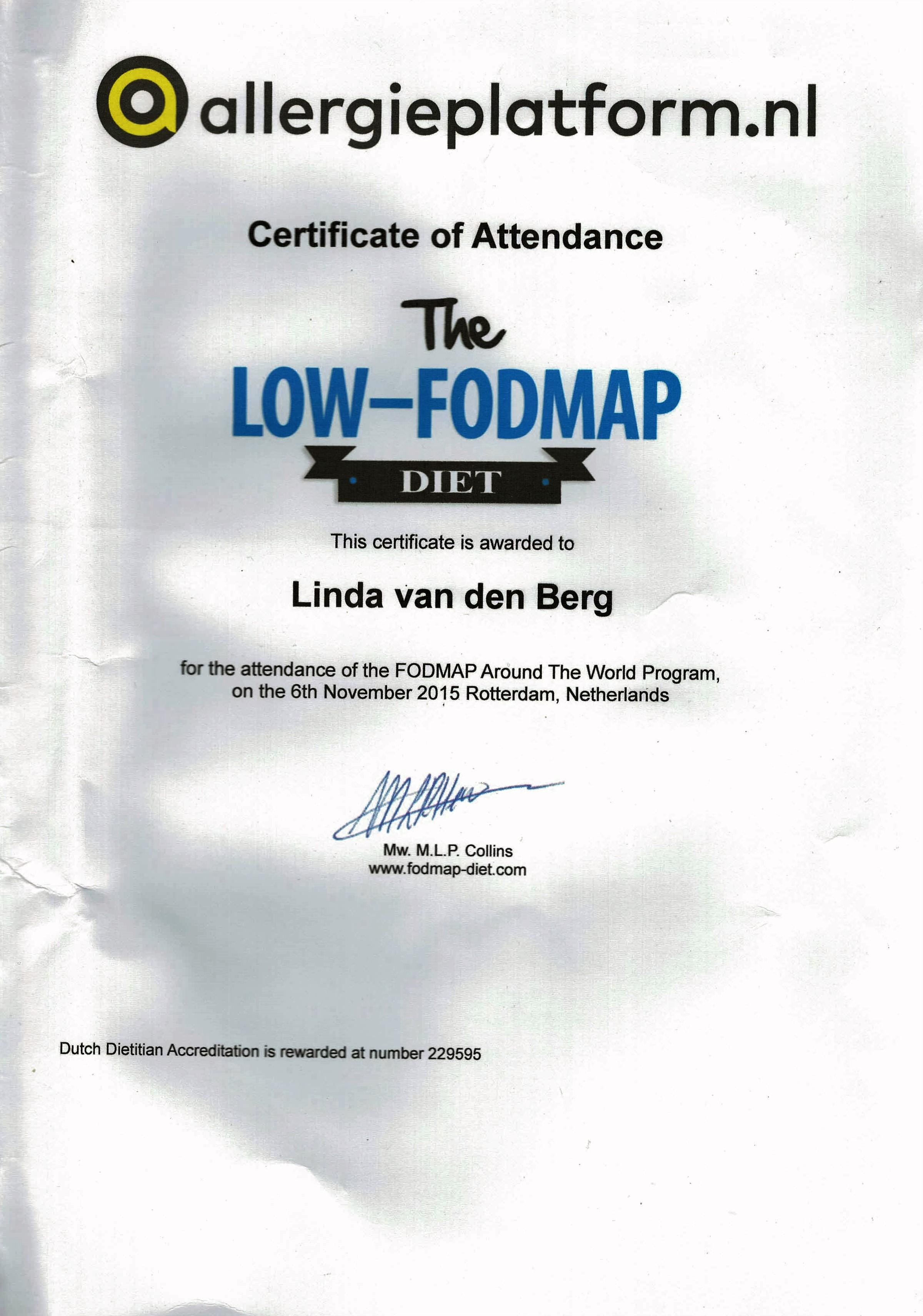 FODMAP certificaat