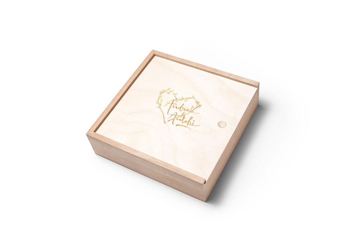 wooden print wedding box