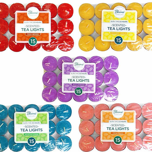 BLOOME SCENTED TEA LIGHT CANDLES 15 PACK