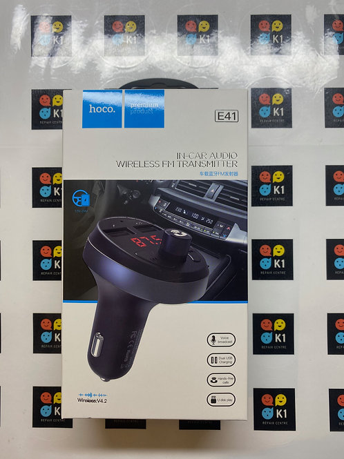 Hoco E41 in-Car Charger FM transmitter with TF Card Flash Drive support.