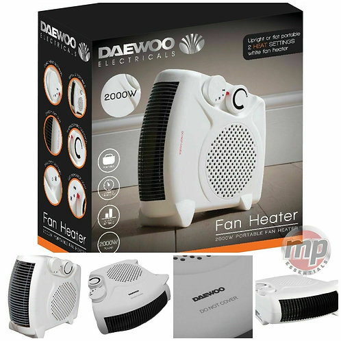 Daewoo  2000w Portable Electric Upright  Fan Heater Hot / Cold
