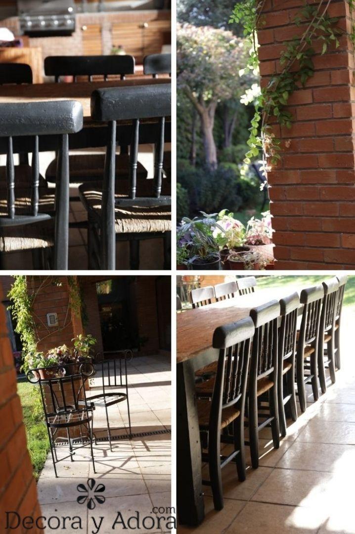 lindas sillas negras en comedor terraza