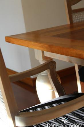 cubierta  de mesa comedor restaurada con técnicas de muñequilla
