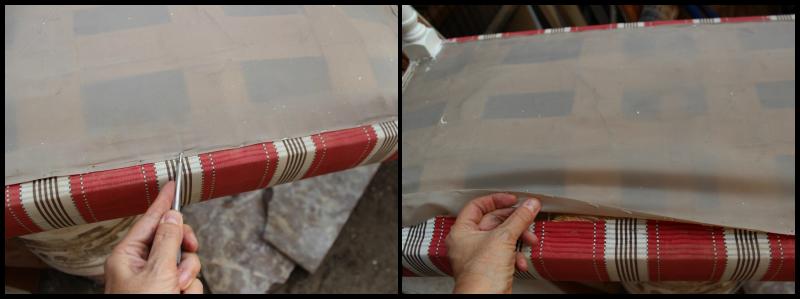 restaurar banqueta pintando de blanco las patas y bordando tapiz.sacar el tapiz antiguo y con ese molde cortar