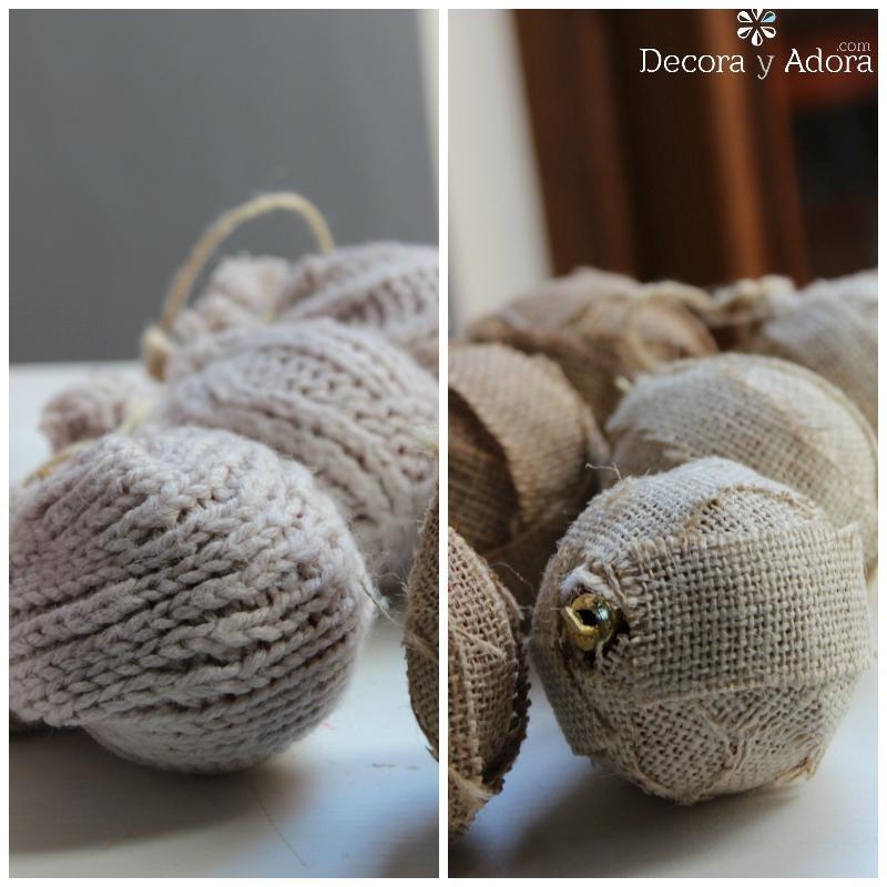bolas de navidad recicladas con tejido y arpillera