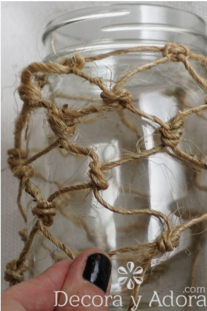hazlo tu mismo frasco de macramé con cuerda de sisal