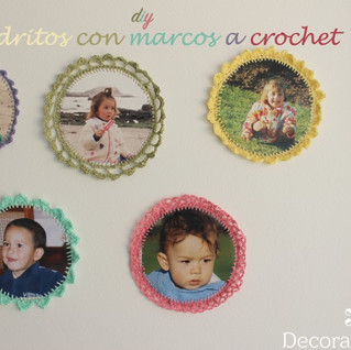 como hacer cuadritos con marco a crochet