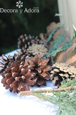 fácil corona de adviento rústica con un pedazo de tronco de madera