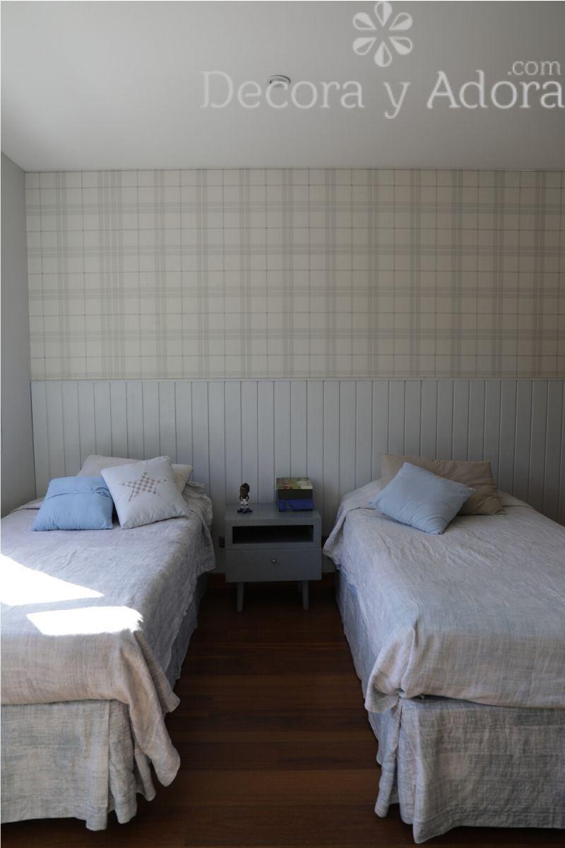 decoración  papel mural dormitorio niños en tonos grises